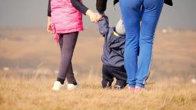Jonge moeder en haar kinderen in openlucht op mooie de lentedag Moeder en twee kinderen die in het park spelen De pret van de fam stock video