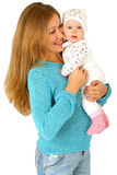 Jonge moeder met babymeisje Stock Foto's