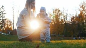 Jonge moeder met haar weinig baby Zonsondergang in de herfstpark royalty-vrije stock foto