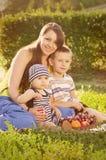 Jonge moeder met kleine zonen Stock Foto's