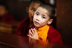 Jonge monnik in Katmandu, Nepal Stock Foto's