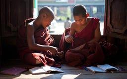 Jonge monniken die in klooster Myanmar leren Stock Afbeeldingen
