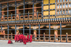 Jonge monniken in Rinpung Dzong stock fotografie