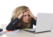 Jonge mooie bedrijfsvrouw die aan spanning lijden die op gefrustreerd en droevig kantoor werken Stock Fotografie