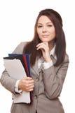 Jonge mooie bedrijfsvrouw met documenten stock afbeeldingen