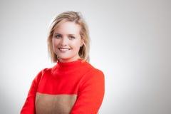 Jonge Mooie Blonde Oranje Sweater Collectieve Headshot Stock Afbeeldingen