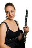 Jonge mooie clarinetist stock fotografie