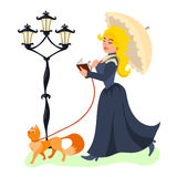 Jonge mooie dame die met haar kat lopen en boek lezen Stock Afbeelding