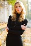 Jonge mooie dame in een de herfstpark stock fotografie