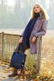 Jonge mooie dame in een de herfstpark stock foto's