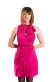 Jonge mooie dame in een roze kleding Stock Fotografie