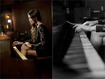 Jonge mooie donkerbruine vrouw in het elegante zwarte kleding spelen op piano Sensuele romantische dame met lang donker haar royalty-vrije stock fotografie