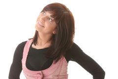 Jonge mooie donkerbruine vrouw met gezichtsuitdrukking. Stock Afbeelding