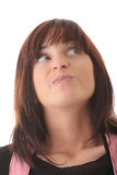 Jonge mooie donkerbruine vrouw met gezichtsuitdrukking. royalty-vrije stock afbeeldingen