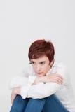 Jonge mooie droevige vrouw Stock Foto's