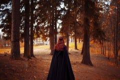 Jonge mooie en geheimzinnige vrouw in hout, in zwarte mantel met kap, beeld van boself of heks, rug stock afbeeldingen