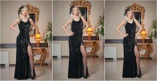 Jonge mooie luxueuze vrouw in lange elegante zwarte kleding Mooie jonge blondevrouw met grote gouden spiegel op achtergrond Royalty-vrije Stock Fotografie