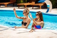 Jonge mooie meisjes die, begroeten, die in zwembad ontspannen glimlachen Royalty-vrije Stock Afbeelding