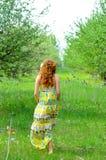 Jonge mooie meisjesgangen in de boomgaard van de de lente groene appel stock afbeelding