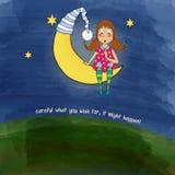 Jonge mooie meisjeszitting neer op een maan Royalty-vrije Stock Afbeeldingen