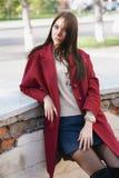jonge mooie modieuze vrouw in de lagen van Bourgondië, straatstijl, de lente en de herfsttendens, donkere rok, beige sweater, fli Stock Foto's