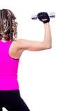 Jonge mooie vrouw achter het doen geschiktheidsoefening Stock Foto