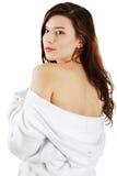 Jonge mooie vrouw in badjas Stock Foto's