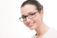 Jonge mooie vrouw die glazen draagt royalty-vrije stock foto