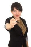 Jonge mooie vrouw die met tellersspatie schrijft Royalty-vrije Stock Foto