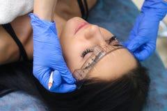 Jonge mooie vrouw die permanente make-up in de kosmetieksalon maken stock fotografie