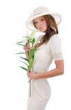 Jonge mooie vrouw in een witte hoed Stock Afbeelding