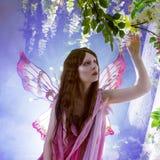 Jonge mooie vrouw in het beeld van feeën, magisch donker bos Stock Foto