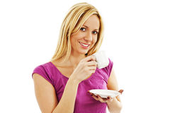 Jonge mooie vrouw het drinken koffie stock afbeelding
