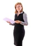 Jonge mooie vrouw met document Stock Foto's