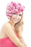 Jonge mooie vrouw met grote glimlach Stock Foto