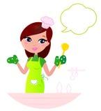 Jonge mooie vrouw met toespraakbel het koken. vector illustratie