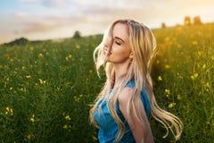 Jonge mooie vrouw op de gebieden stock foto