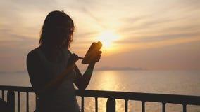 Jonge mooie vrouw in zonnebril die zich op dek van cruiseschip bevinden en haar slimme telefoon met behulp van Wind die haar haar stock footage