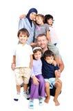Jonge moslimfamilie met vele geïsoleerdee leden Stock Afbeeldingen