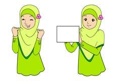 Jonge moslimvrouw met gelaatsuitdrukkingen Royalty-vrije Stock Foto