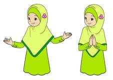Jonge moslimvrouw met gelaatsuitdrukkingen Royalty-vrije Stock Afbeelding