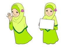 Jonge moslimvrouw met gelaatsuitdrukkingen Stock Foto