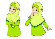 Jonge moslimvrouw met gelaatsuitdrukkingen Stock Fotografie