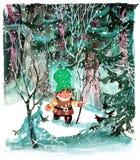 Jonge Nisse in het bos Stock Afbeeldingen