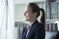 Jonge onderneemster die in het bureau tijdens een commerciële vergadering glimlachen stock fotografie