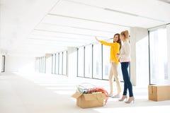 Jonge onderneemster die met vrouwelijke collega in nieuw bureau bespreken Stock Afbeelding