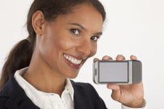 Jonge Onderneemster met Mobiel Apparaat stock fotografie