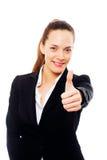 Jonge onderneemster met omhoog duim Stock Foto