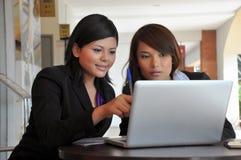 Jonge onderneemsters die info op laptop delen Stock Foto