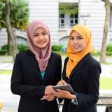 Jonge onderneemsters die informatie over laptop delen Royalty-vrije Stock Foto's
